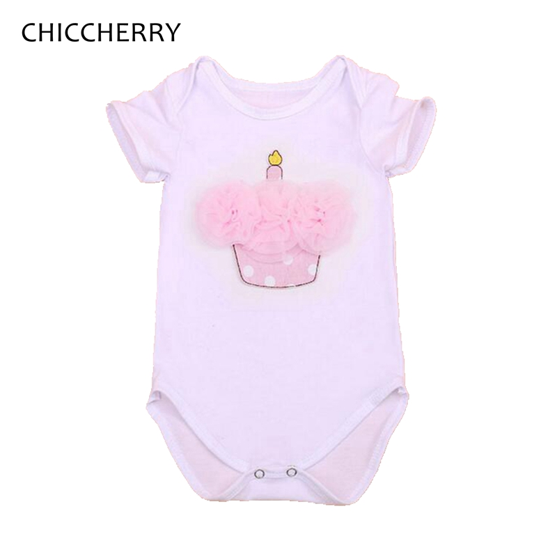 Lace Ruffle Cupcake Applique Body Baby Girl Bodysuits 1st