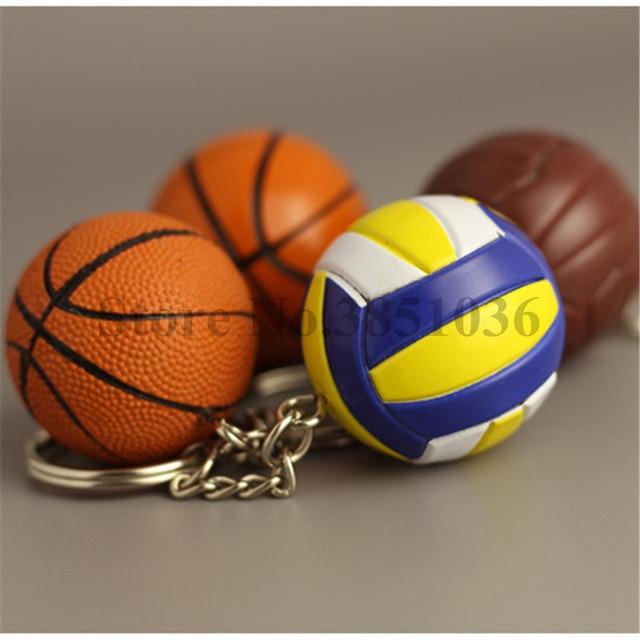 10 pzas/unids/lote nuevo PVC Mini llaveros de baloncesto llaveros de voleibol de plástico para regalos