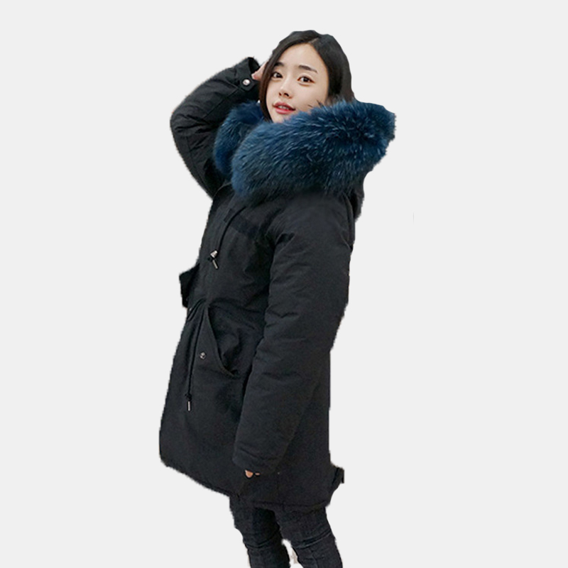 Thick Women Coat Autumn Winter Big Faux Fur Collar Parka Jacket Hooded Long Down Jacket Blak Overcoat Plus Size Z664 2017 long winter coats cotton padded women jackets luxury big faux fur collar coat thick hooded parka plus size 3xl abrigo mujer