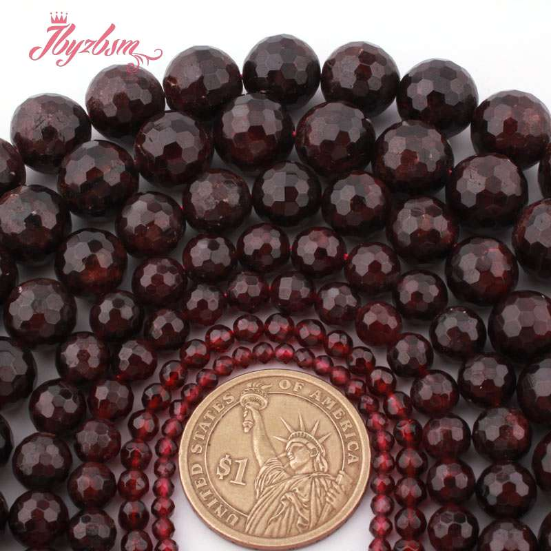 4,6,8,10mm Faceted Round Ball Bead Garnet Natural Stone Beads For Woman DIY Necklace Bracelets Jewelry Making 15