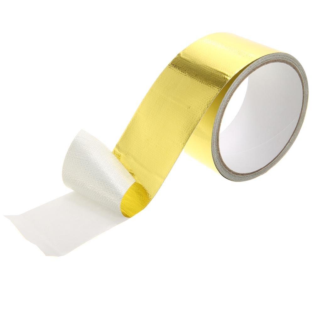 5m Gold Fiberglass Wrap Barrier Tape Heat Shield Roll Exhaust Tape For Cars Auto