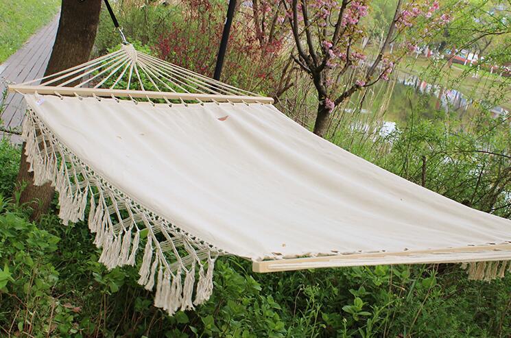 Hamac de Camping avec Double taille barre d'épandeur en bois massif Patio extérieur cour hamac de piscine avec chaînes chaise d'hamac pour 2 personnes