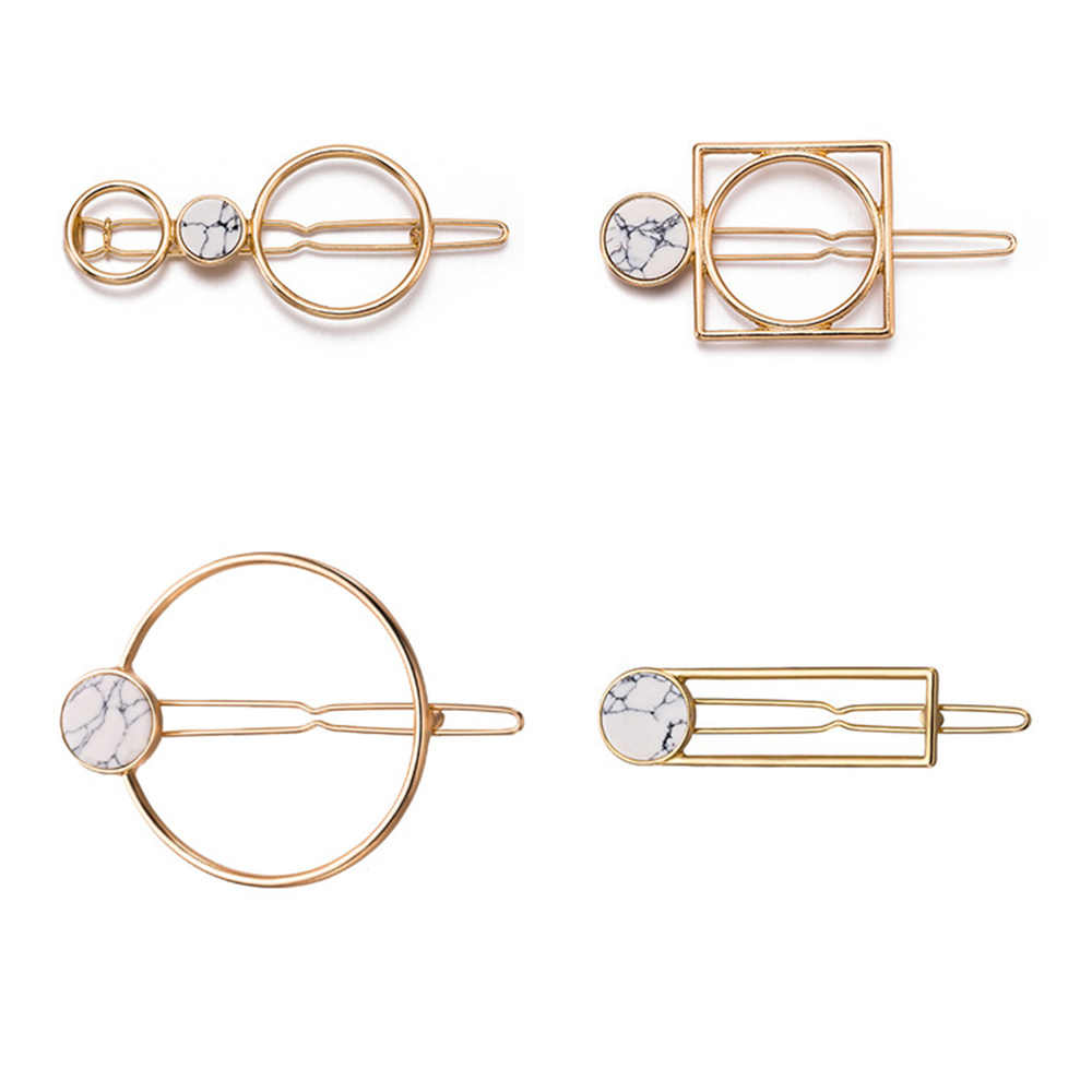 1 pc Fashion Women Girls Metal Circle Square Hair Clips Natural Stone Hairpins Barrettes Wedding Hair Accessories