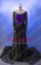 Free shipping New Arrival Custom Made High Quality snow queen elsa black Dress Cosplay Costume 004