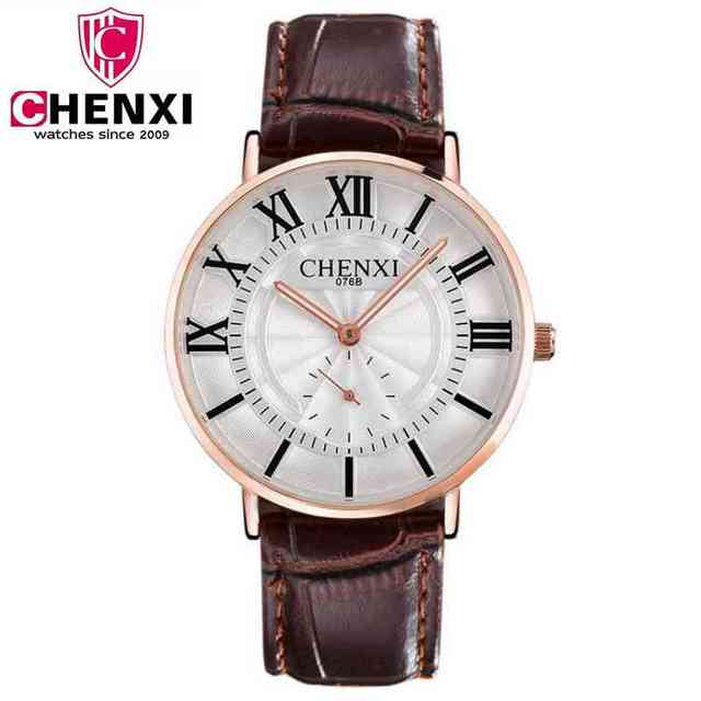 4c44fecabf5 CHENXI Watch Man Fashion Luxury Watch Brown Leather Strap Ultra Thin Quartz  Watch With Second Dial