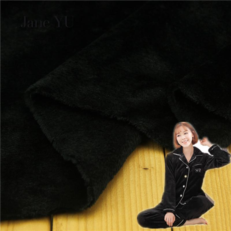 JaneYU Super Soft Flannel Autumn And Winter Underwear Nightwear Bathrobe Lining Cloth Bed Sheets Black Half meter Price Fabric