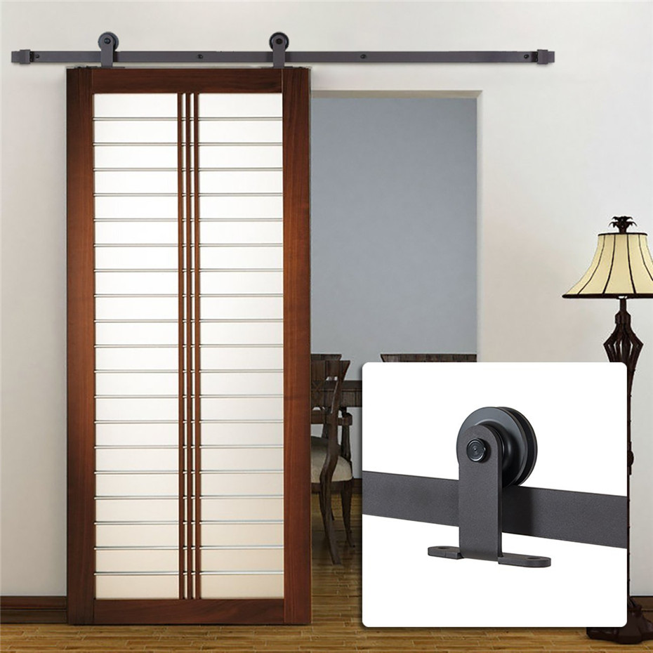 Free Shipping Sliding Single Barn Door Hardware Antique Rollers Black Country Interior Wood Rustic Closet Kit 5 6 7 8 Ft