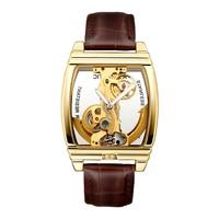 SHENHUA Relojes Hombre Automatic Clock Men Luxury Golden Skeleton Mechanical Male Wrist Watches Leather Strap Relogio Masculino
