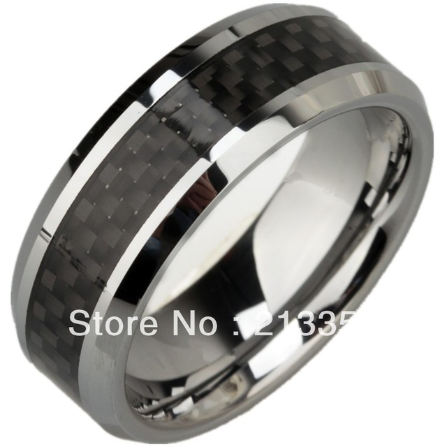 BUY CHEAP JEWELRY WHOLESALE USA HOT SELLING 8MM HIS/HER BLACK FIBER