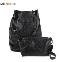 2pcs Vintage Skull Shoulder Bags Women Bucket Pu Leather Top Handle Bag Female Black Handbags Ladies