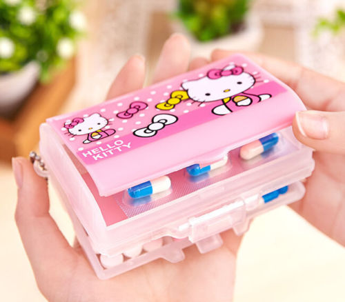 New Cute Hello Kitty Pill Box Organizer Medicine Vitamin Storage Travel CC-S55