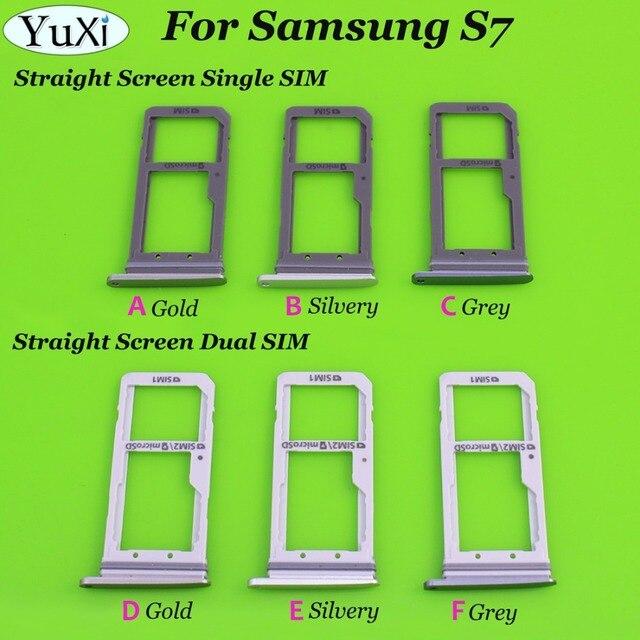 YuXi 3 Cor Dual/Único Sim Bandeja Para Samsung Galaxy S7 G930 G930F Bandeja SIM Card Slot Titular Substituição parte