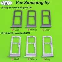 Yuxi 3 cor dupla/única bandeja sim para samsung galaxy s7 g930 g930f sim slot bandeja titular peça de substituição