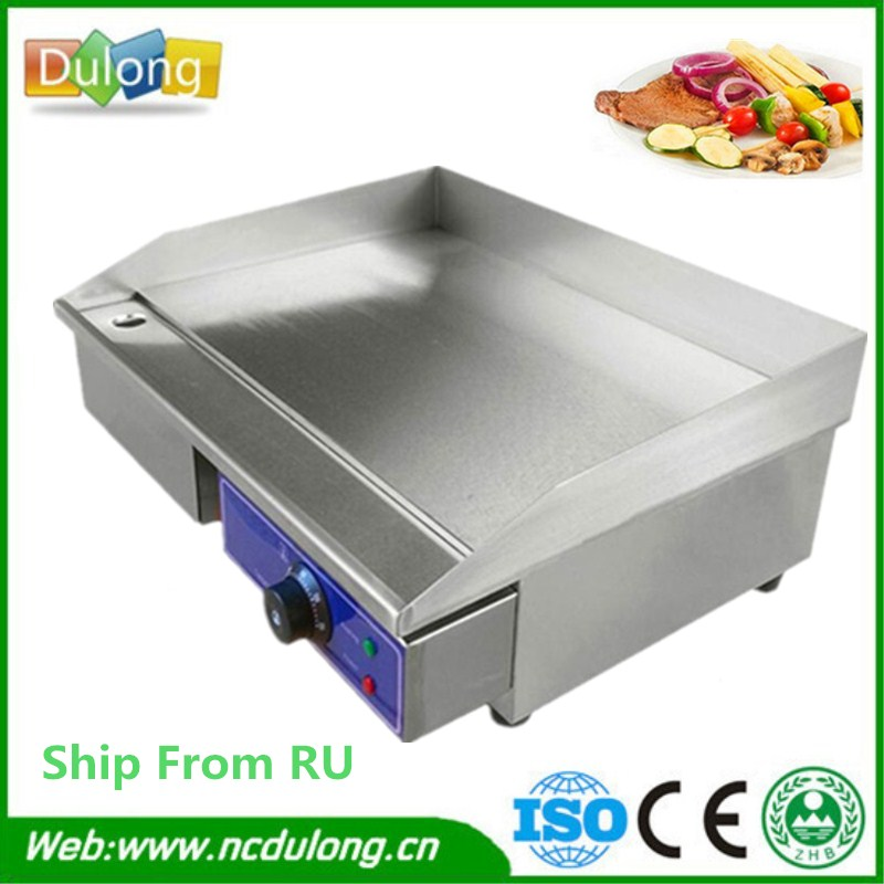 RU Stock Stainless Steel All Flat Pan Electric Griddles And Grooved Electric Griddle Grooved Electric Fried Pans flat pan rolled fried ice machine with double compressors