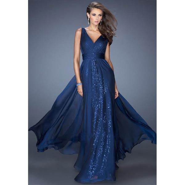Kleid lang royalblau
