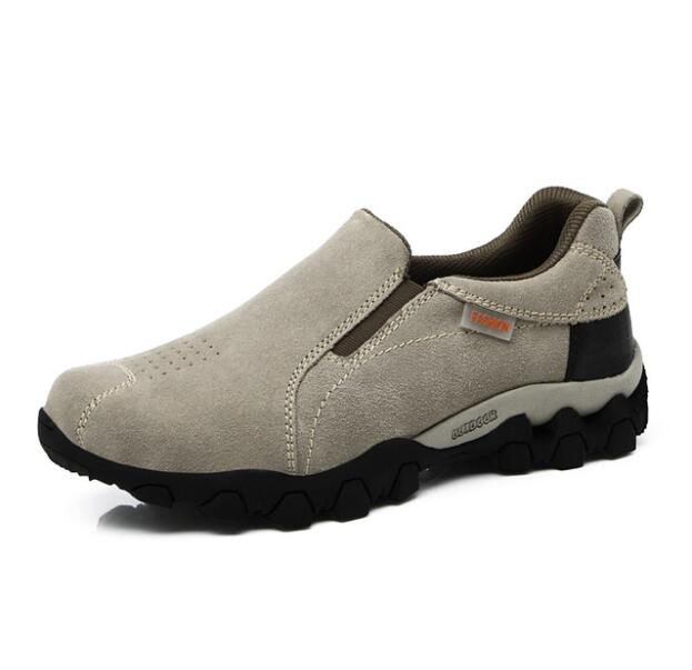 Hiking-Shoes-Trainers Climbing Sports Real-Leather New Slip on Men Big-Size 39-44