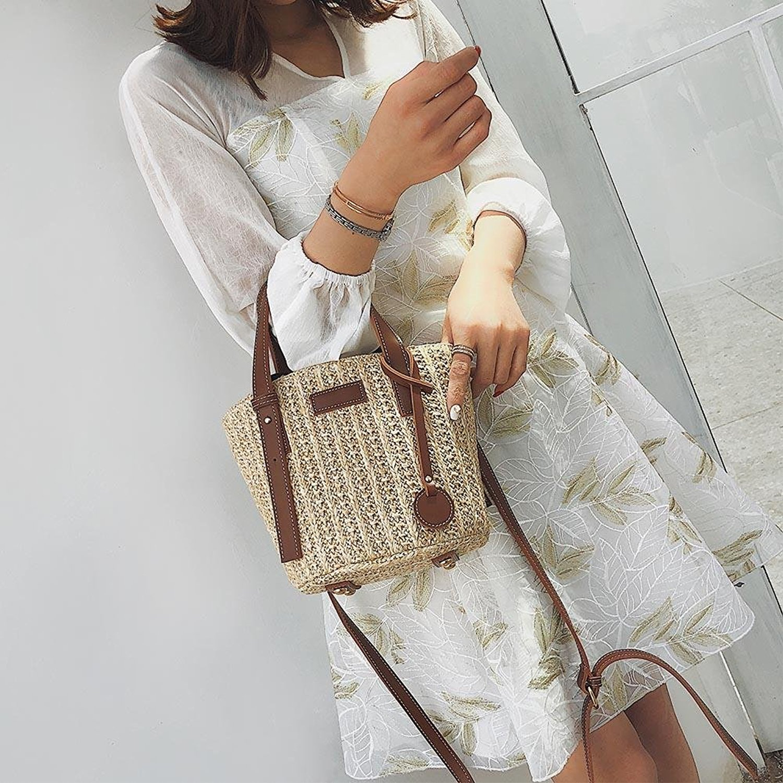 DCOS kadın hasır omuzdan askili çanta Vintage saman torbaları omuz Mini Messenger plaj rahat hasır çanta|Üstten Saplı Çanta|   - AliExpress