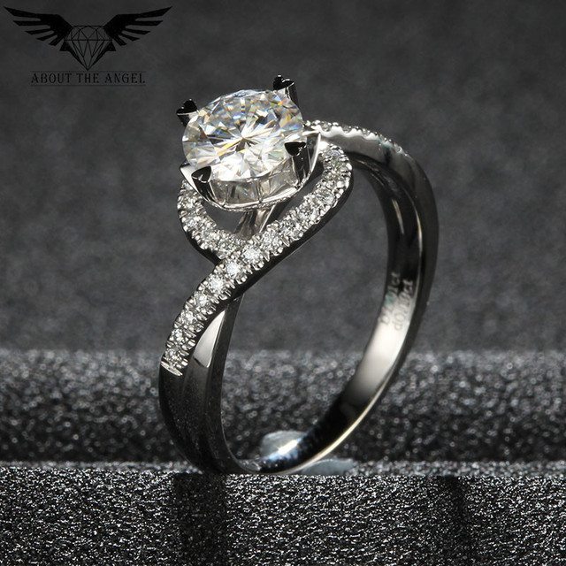 Fashion Style Cross Shank Lady Ring / 14 K Gold Ring / Moissanite Heart shape Prong Diamond Ring 2