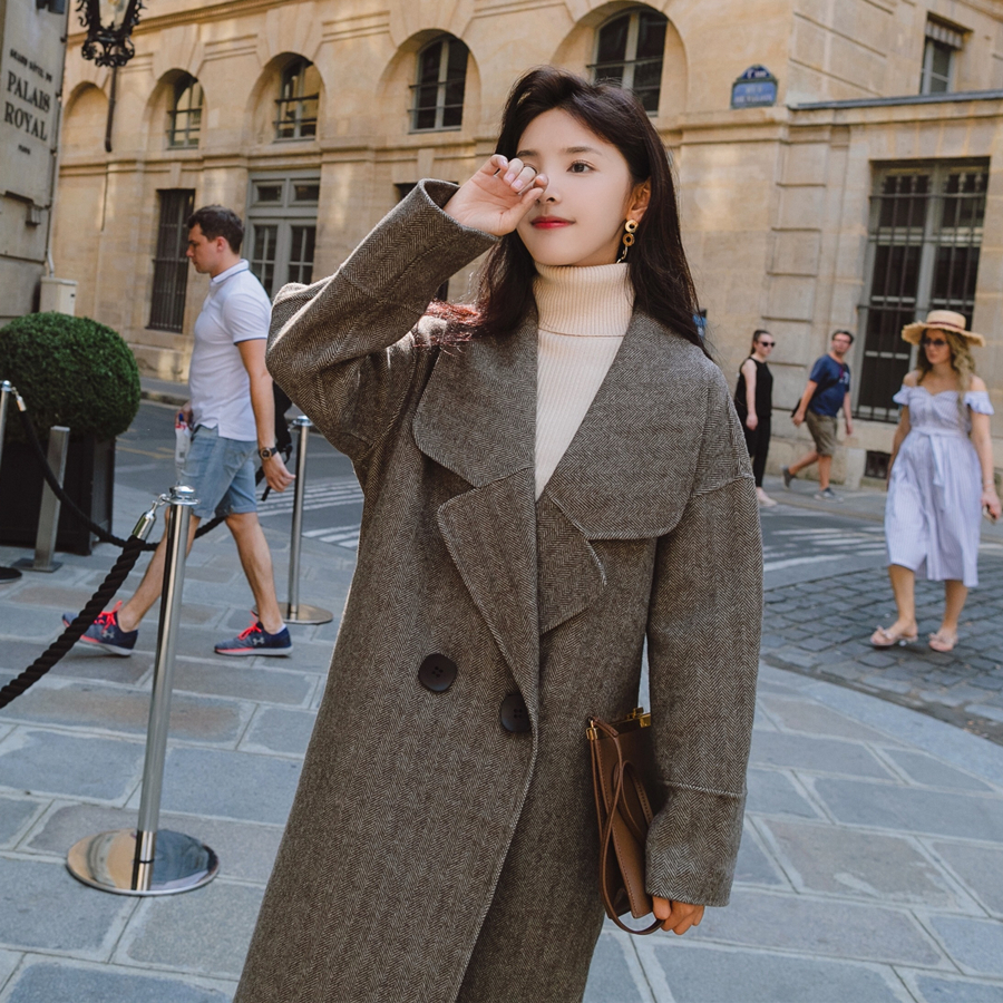 Brand New Women's Coats Herringbone Wool Blends Double Breasted Long Thick Warm Lady Outerwear Clothing Autumn Winter