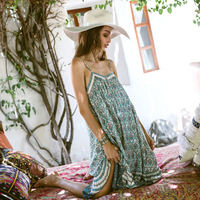 Boho Dress Mid Calf 2017 Summer Green Floral Print Dresses Sleeveless Spaghetti Strap Loose Casual Hippie