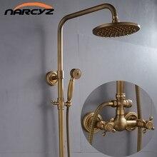 Conjunto de ducha de cobre antiguo retro de estilo europeo, grifo de ducha XT305