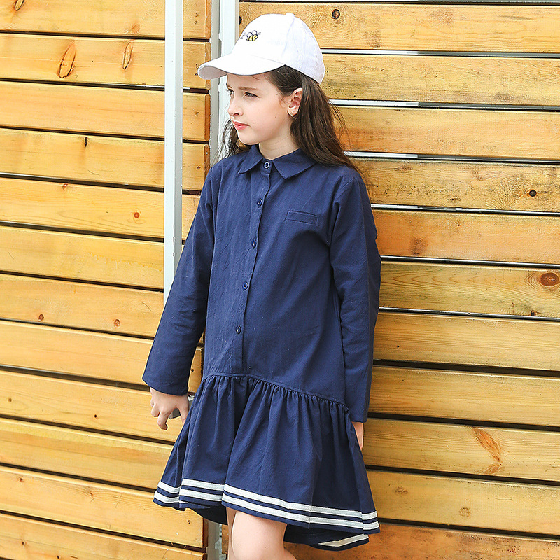 2018 Girls Dresses Girls Clothing 100% Cotton Long Sleeve Baby Girls Princess Dress Preppy Style Costume for Kids Clothes CC718 belababy baby girls preppy style dress princess children autumn double breasted cute kids casual long sleeve dresses for girls