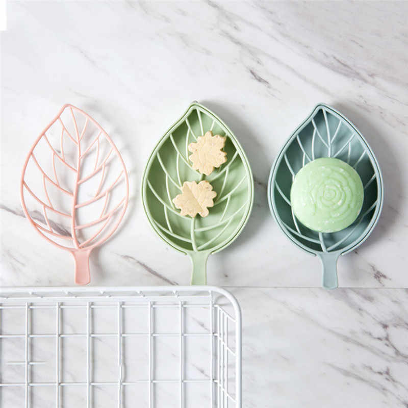 Bathroom Accessories Leaf Shape Soap Holder Non Slip Soap Box Toilet Shower Tray Draining Rack Soap Dish Soap Tray Holder