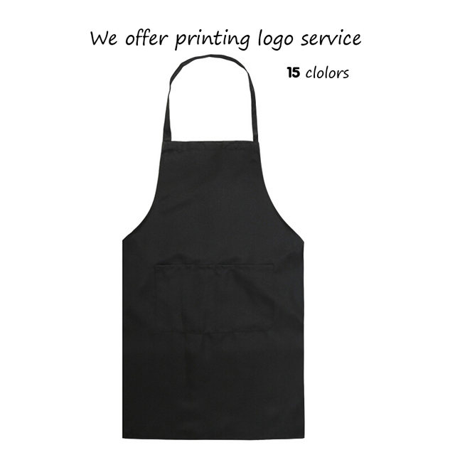 Pure Color Cooking Kitchen Apron For Woman Men Chef Waiter Cafe Shop BBQ  Hairdresser Aprons Custom