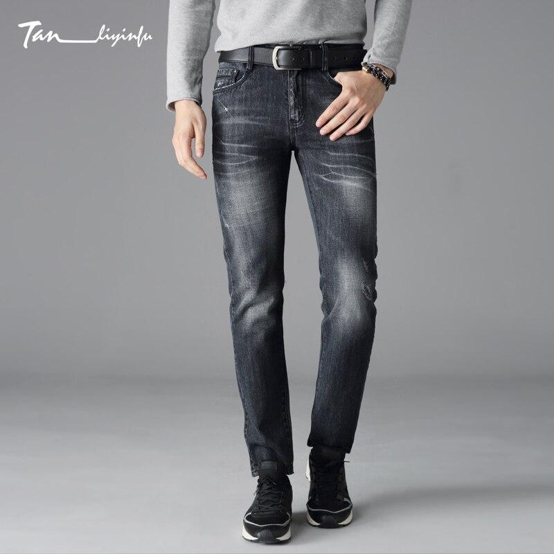 Tanliyinfu high quality black men's printed jeans zipper  brand fashion jeans man printing pattern Dark gray denim 1027
