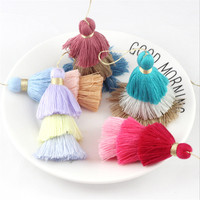 50pcs/lot charms mixed color 3 layer tassel cotton silk tassel Trim for Earring Findings jewelry making DIY Material Accessories