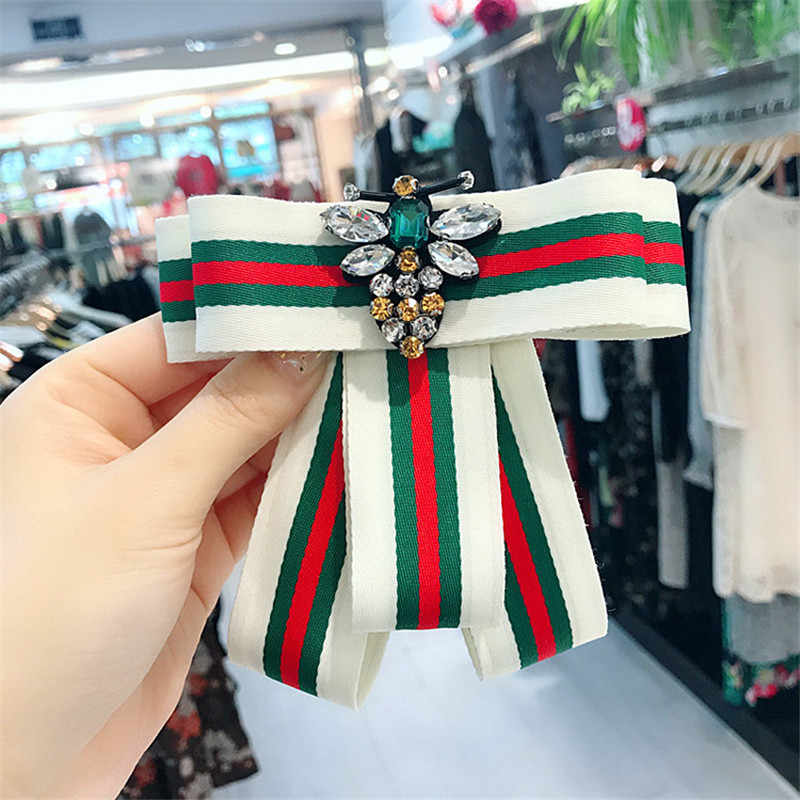 Korea Handmade Striped Academy Fabric Rhinestone Bee Shirt Pins Neck Bow  Tie Bowknot Accessories Fashion Jewelry a546a4624672