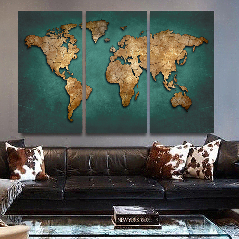 3 panels large vintage world map canvas painting prints modern 3 panels large vintage world map canvas painting prints modern abstract wall art 3 pieces home decor picture poster no frame in painting calligraphy from gumiabroncs Gallery