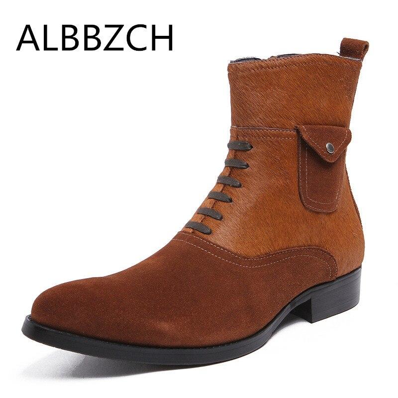 Cuir véritable hommes bottes mode cheveux de cheval et cuir de vache patchwork luxe design hommes carrière travail bottes wdding robe chaussures