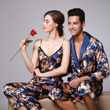 2019 Man and Woman Pajamas Set Sling Cotton 2 Peices Sleepwear For Women Long Sleeves Breathable Sexy Robe Homewear