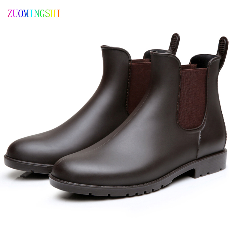 2018 Chelsea boots men rain boots low bot warm boots male low bot water shoes men slip bot galoshes fishing boots wellies цена