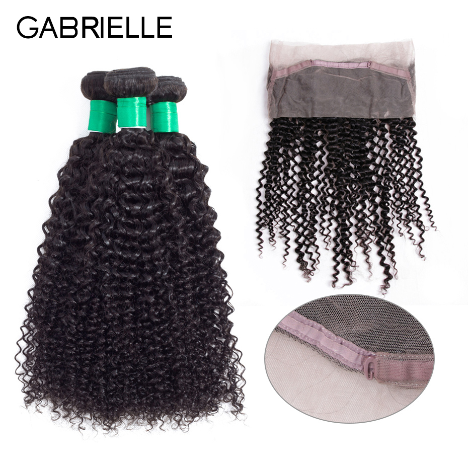 Gabrielle Peruvian Human Hair with Frontal Kinky Curly Natural Color Non-remy Hair Weave 3 Bundles with 360 Lace Frontal
