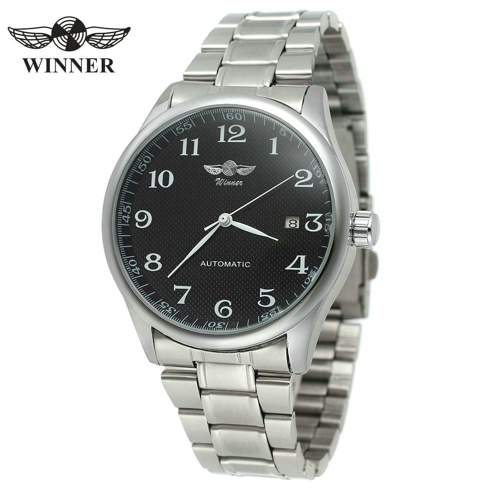 WINNER Fashion Casual Men Mechanical Watch Stainless Steel Strap Calendar Date Concise Design Business Style Male