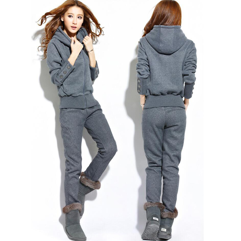 Winter 2Pcs Women Ladies Tracksuit Long Sleeve Zipper Hooded Sweatshirt Long Pants Two Piece Set Leisure Suit Women Sportwear