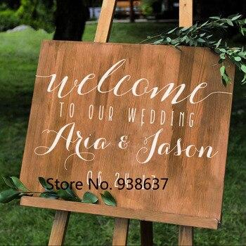 ไวนิล Wall Decal สำหรับงานแต่งงานส่วนบุคคลงานแต่งงานป้ายชื่อวันที่ DIY งานแต่งงาน Board สติก