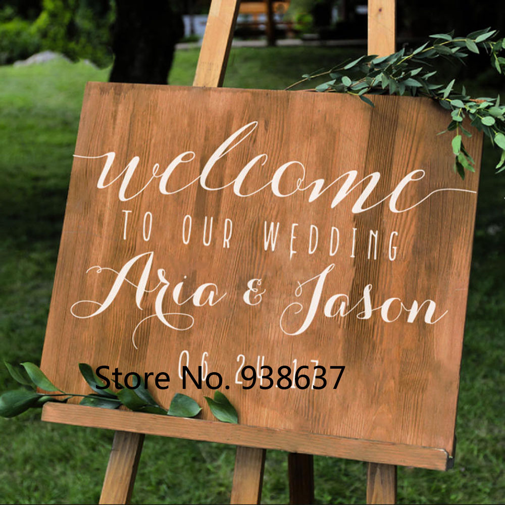 Simple Vinyl Wall Decal Stickers For Wedding Personalized Wedding Welcome Sign Names and Date DIY Wedding Mirrors Decor ZB132