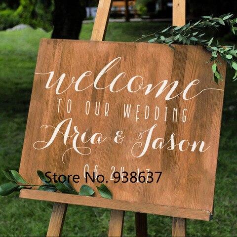 Parede do Vinil para o Casamento Placa do Sinal de Boas Nomes e Data do Casamento Adesivos de Espelhos Simples Decalque da Casamento Personalizado Vindas Diy Decoração Zb132