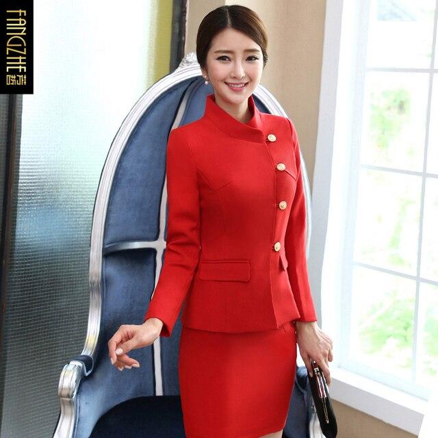 Stewardess Uniforms Suit Red professional ladies Skirt/Trousers Suits New Classical Long Sleeve Fashionable Uniform Suits