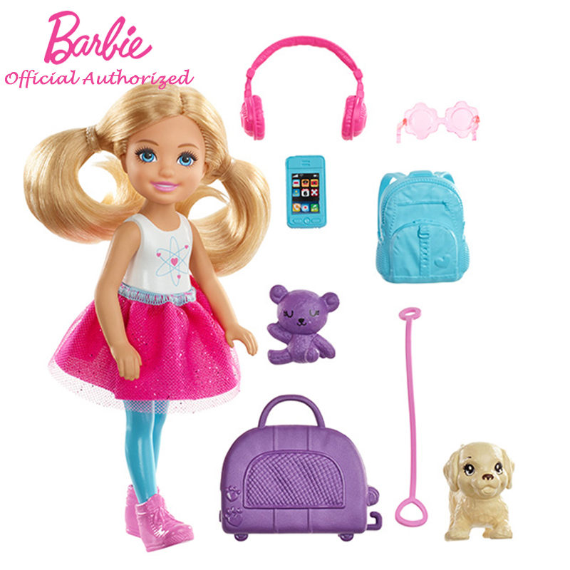 Barbie Doll Toy Chelsea Doll and Travel Set with Puppy Multi Colored Accessories Go All Around The World FHV20 Mini Barbie Doll