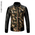 Camouflage Winter Luxury Men's Leather Jacket Faux Fur PU Motorcycle Biker Pilot Veste Vuir Homme Fashion Jaqueta De Couro