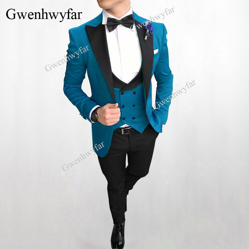 Gwenhwyfar Groom Tuxedo Blazer Suits Wear Prom-Best Wedding Blue Double-Breasted 3-Piece