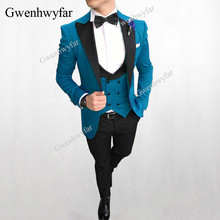 Gwenhwyfar 2018 Men Double Breasted Vest Suits Peacock Blue Wedding Gr