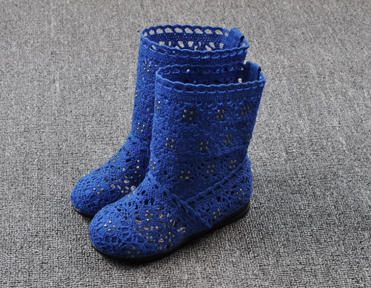 (A241)18 Classical Kids Shoes Summer Girls Boots Knitting Hollow Children Shoes Fashion Network Boots For Girls 18