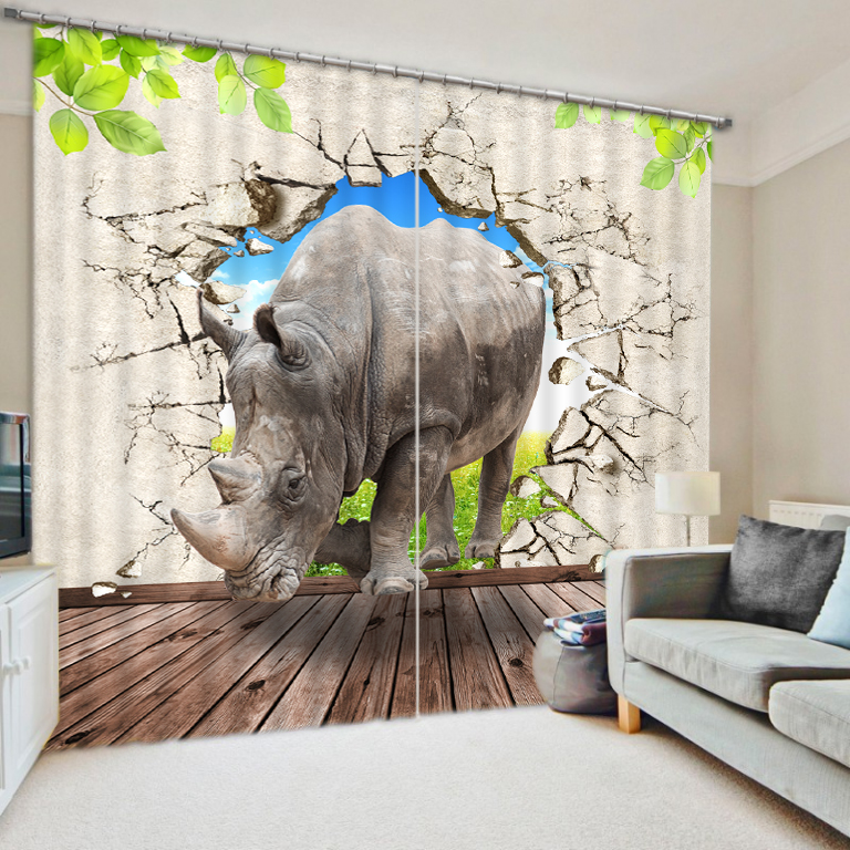 Rhino dinosaur print personalized photo black silk 3D blackout curtains finished Elephant Art