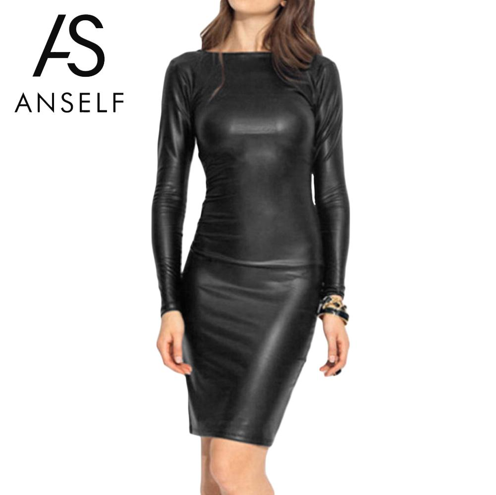 Online Get Cheap Long Sleeve Black Leather Dress -Aliexpress.com ...