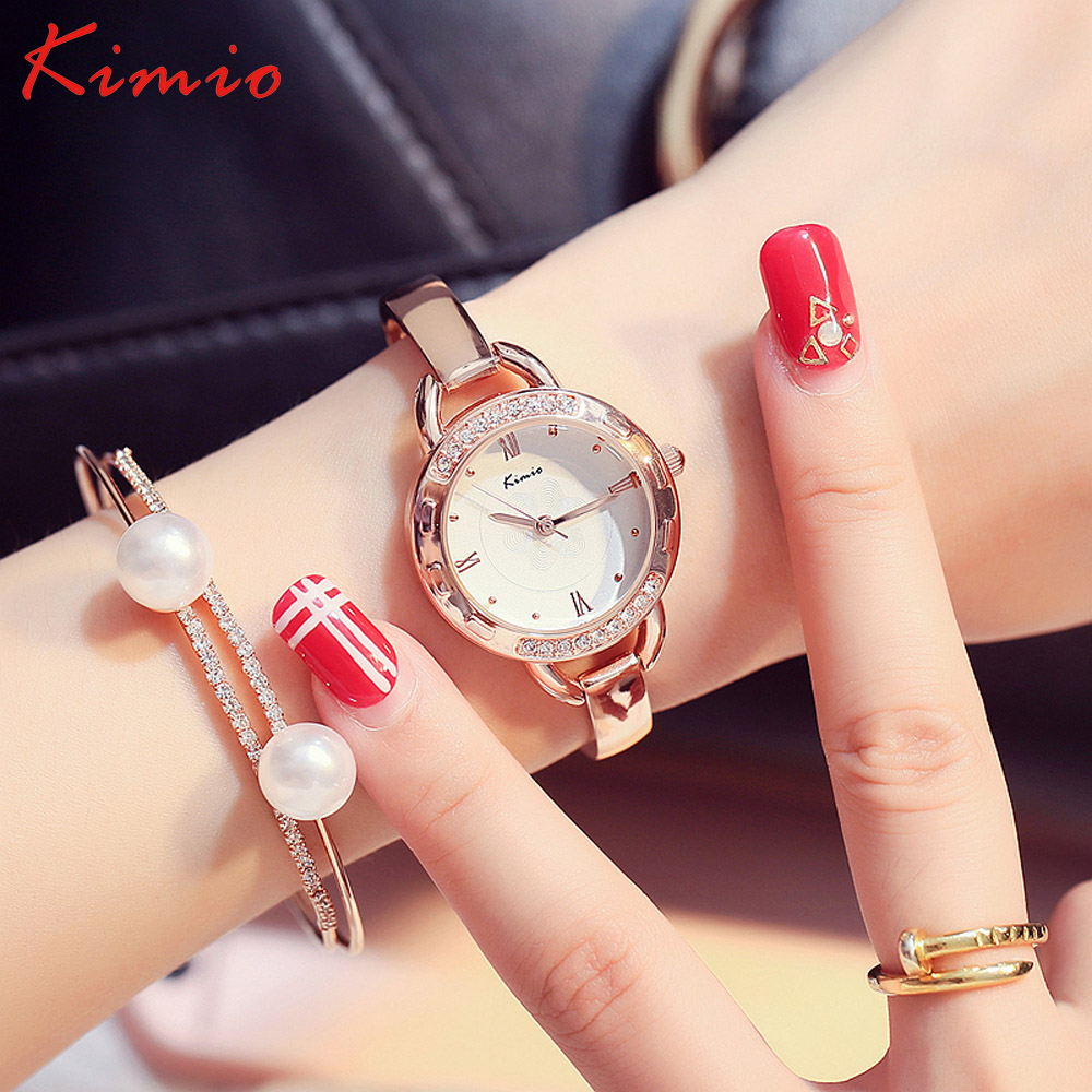 2017 New Fashion Kimio Luxury Crystal Diamond Watches Women Gold Watch  Steel Strip Rose Gold Dress